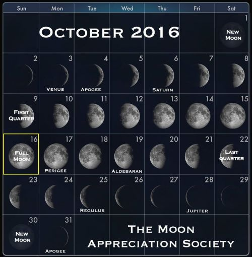 2016 Octobers Moon phases